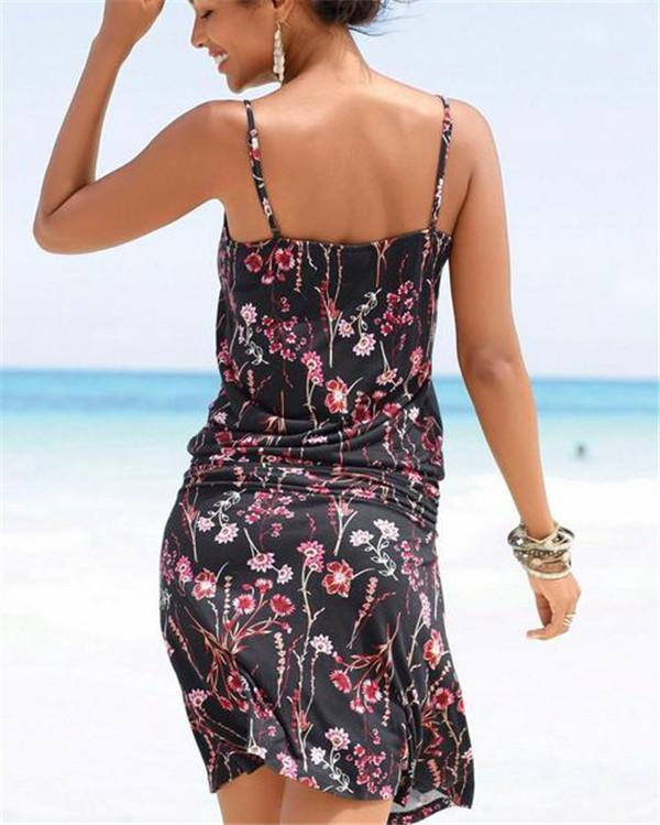 Women Casual Summer Sleeveless Floral Vacation Dress