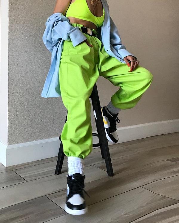 Womens High Waist Trousers Loose Jogger Pants