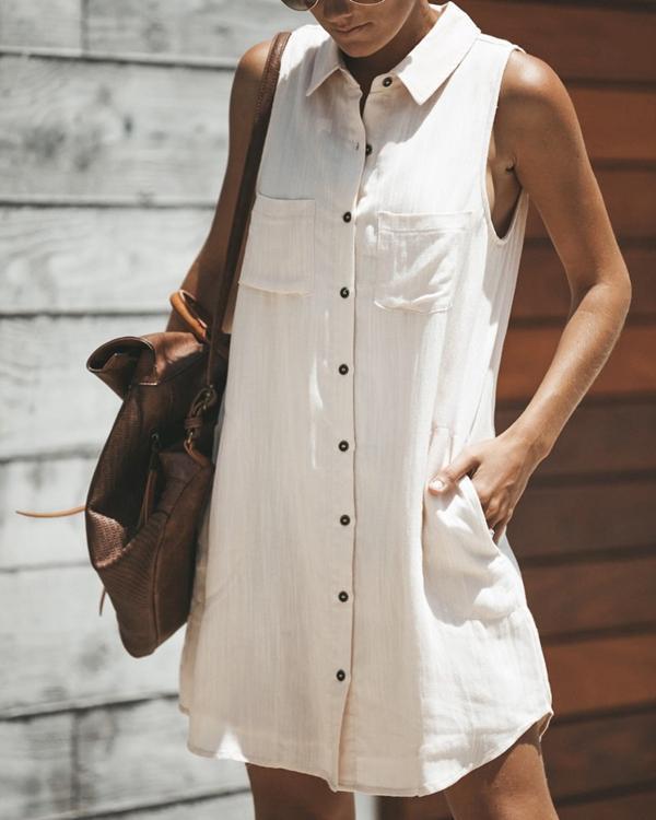 Women Casual Solid Button Shirt Collar Sleeveless Dress