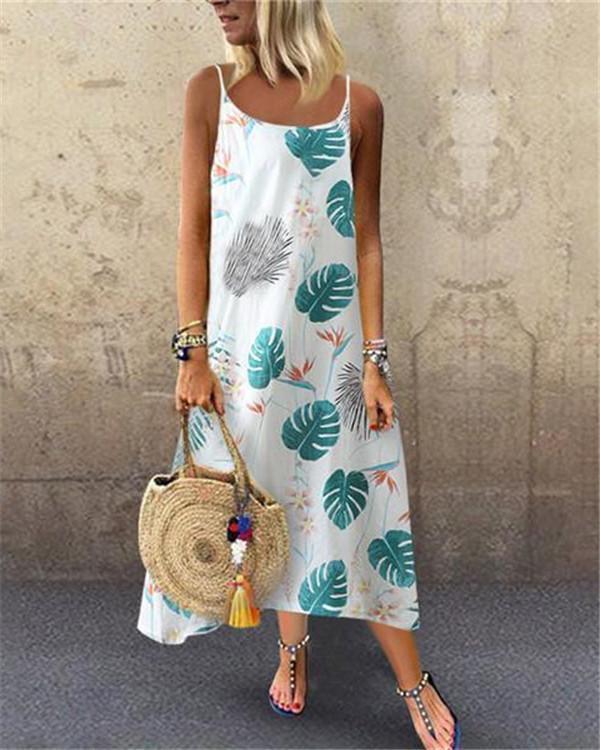 Boho Printed U Neck Sleeveless Maxi Dress