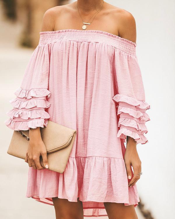 Women's Fashion Solid Off Shoulder Strapless Mini Dress