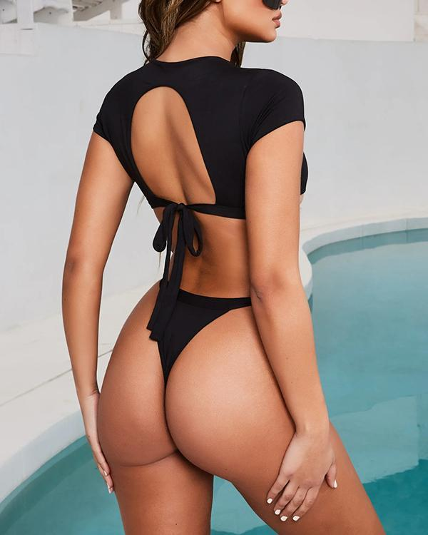 Women's Swimsuit Sports Bikini Half Sleeve Split Swimsuit