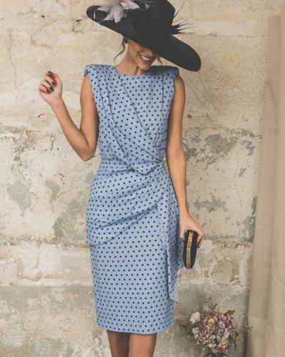 Women Elegant Wave Point Slim Plus Size Evening Dress