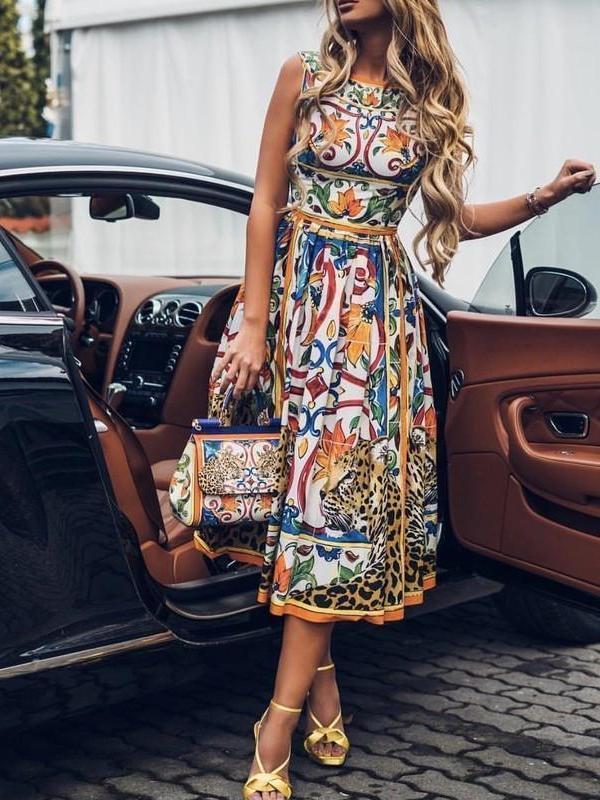 Women Elegant Sleeveless Printed Dresses