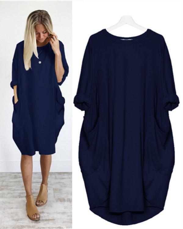 Womens  Plus Size Crew Neck Loose Long Sleeve Solid  Dress Tops