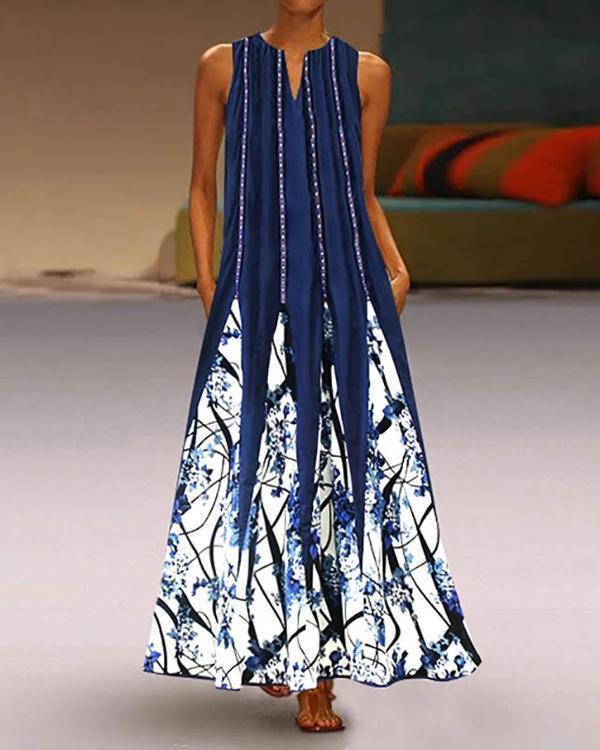 Women Summer Sleeveless V Neck Casual Printed Dress