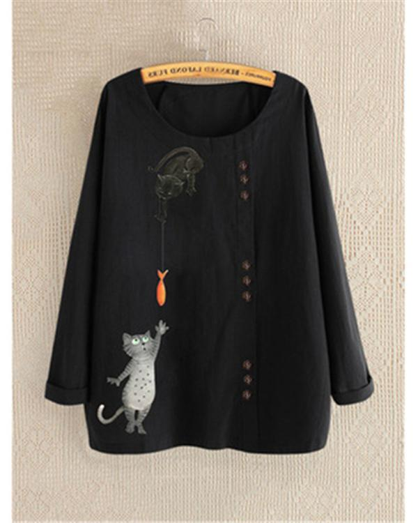 Round Neck Long Sleeve Cartoon Printed Blouses Tops