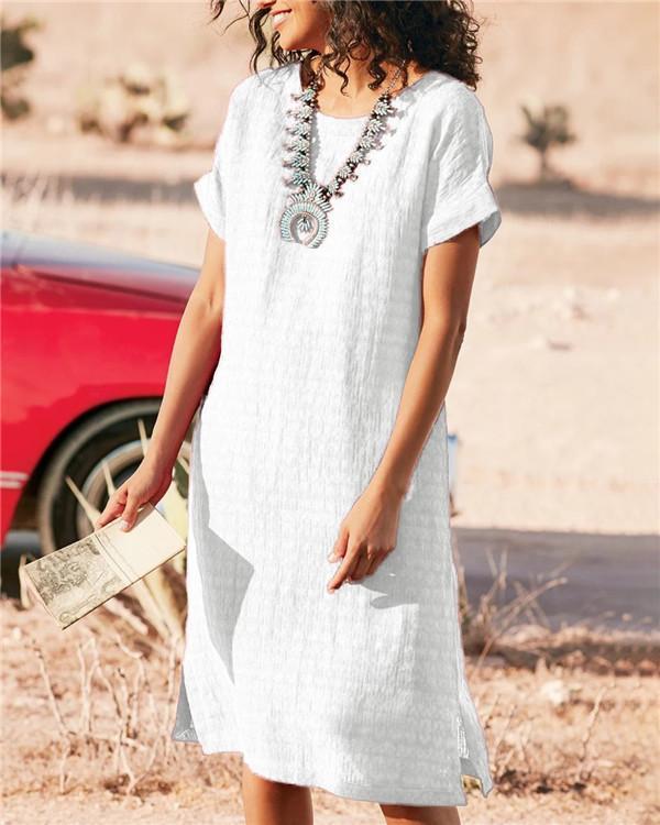 Women Bohemian Solid Holiday Daytime Mini Dress