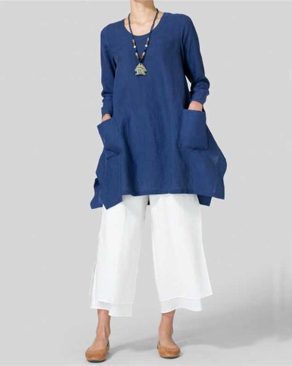 Irregular Loose Plus Size Cotton & Linen Blouses Tops