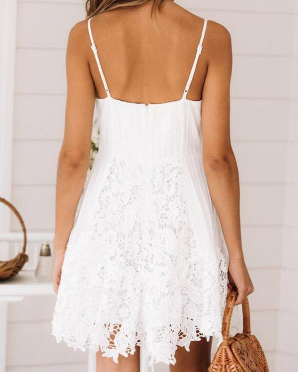 White Deep-V-neck Spaghetti Straps Cami Lace Mini Dress