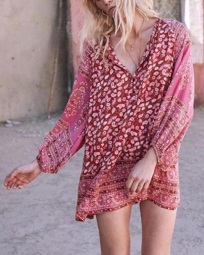 Women Bohemian Printing Stitching Long Sleeve Mini Dress