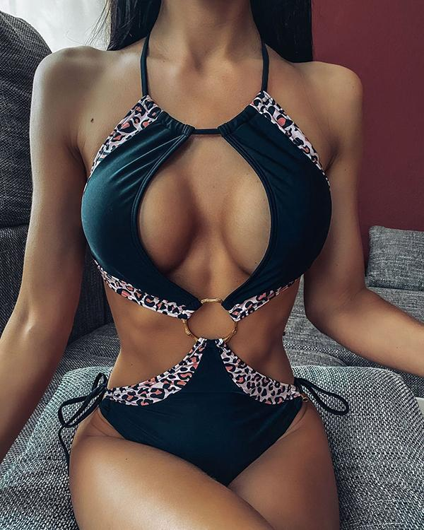 Sexy Cutout Strap Solid Color Stitching One-piece Bikini