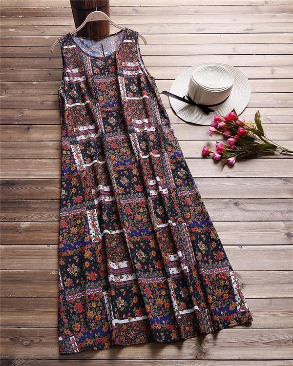 Bohemian Print Sleeveless Summer Plus Size Maxi Dress