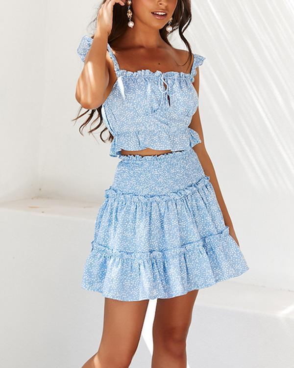 Casual Sleeveless Ruffled Polka Dot Two-piece Suit