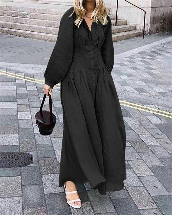 Vintage Casual Fall Lantern Sleeve Casual Fashion Daily Maxi Dress