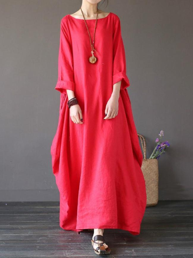 Vintage Solid 3/4 Sleeve Loose Maxi Women's Dress