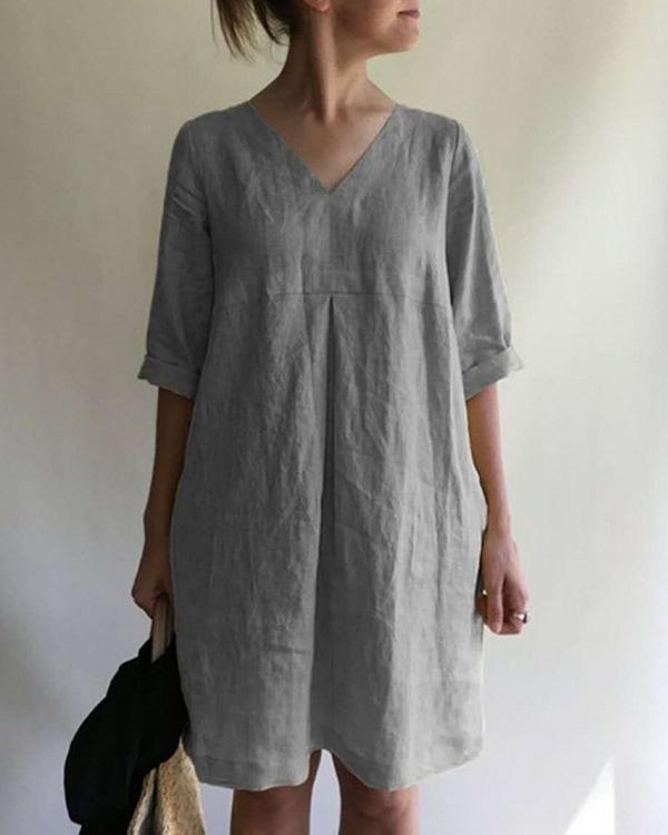 Casual Solid Half Sleeve Mini Dress