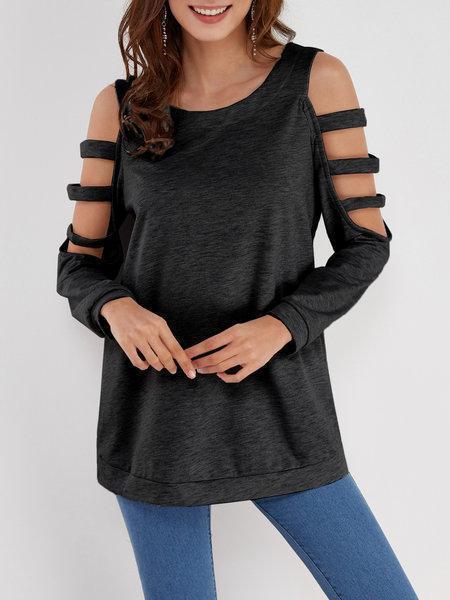 Blue Solid Color Cold Shoulder Long Sleeves T Shirt