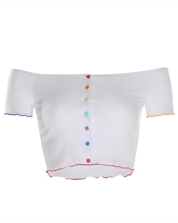 Women's Color Button Off-Shoulder Navel Top