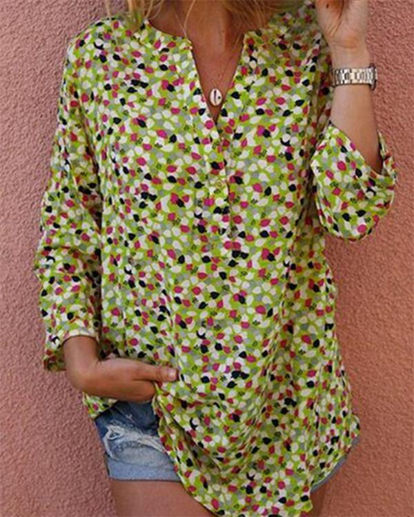 Summer Printed Women Casual V Neck Holiday Tops