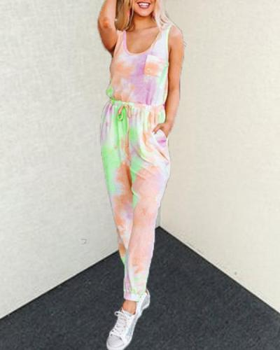 Chic Tie-dye Printed SleevelessTop And Lounge Pants Set