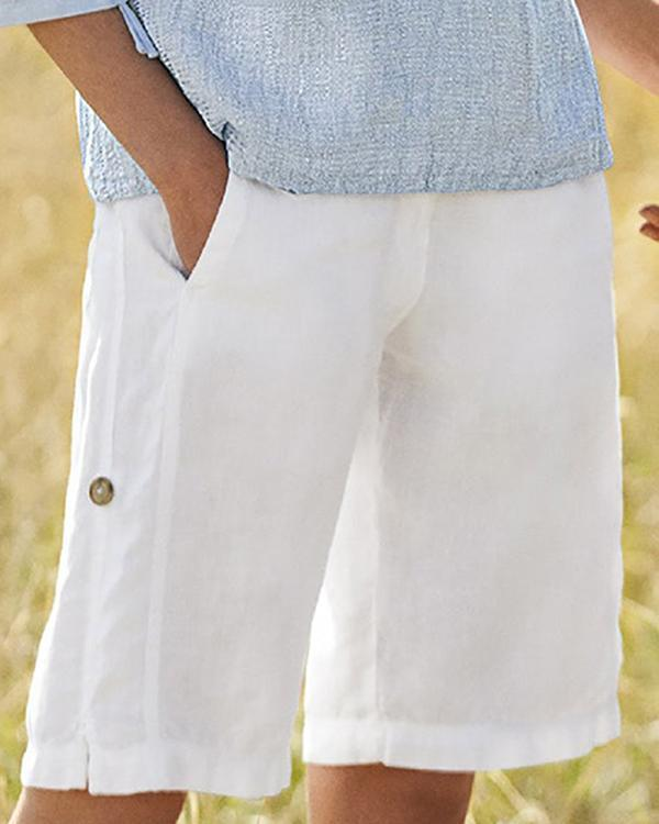 Summer Linen Casual Buttoned Shorts