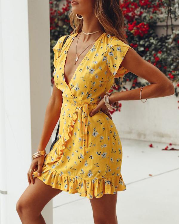 Summer Lace-Up V-Neck Floral Printed Dress