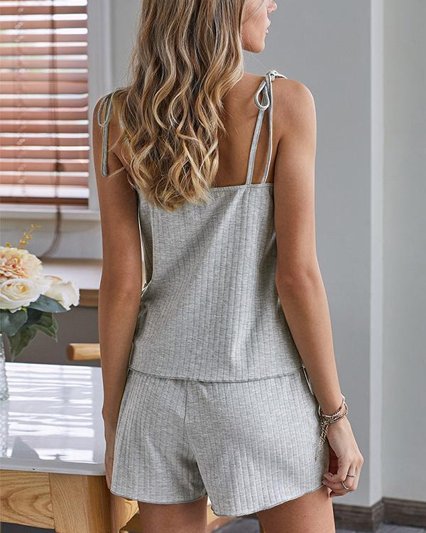 Solid Knit Lace-up Spaghetti Strap Pajama Sets