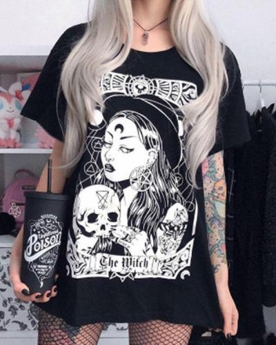 Vintage Skeleton Printed Chic Long T-Shirt