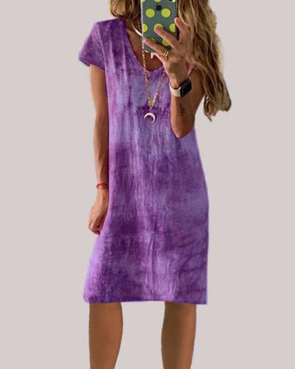 Holiday Short Sleeve V Neck Summer Boho Dress