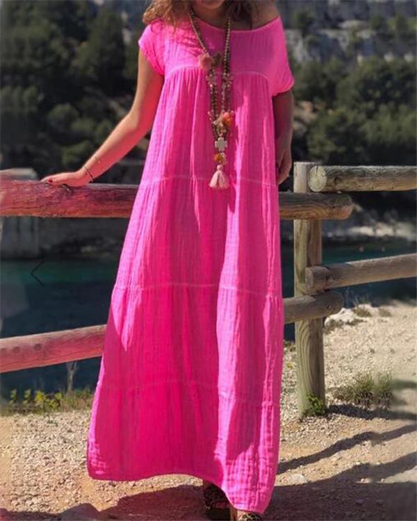 Vintage Bohemian Solid Short Sleeve Midi Dress