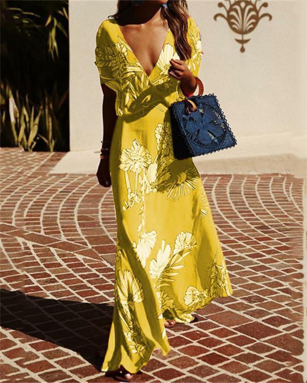 Casual V Neck Printed Short Sleeve Maxi Dress