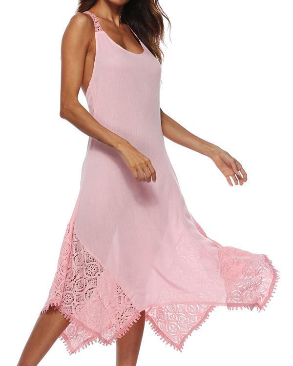 Women A-line Sleeveless Basic Paneled Plain Plus Size Sleeveless Summer Dress