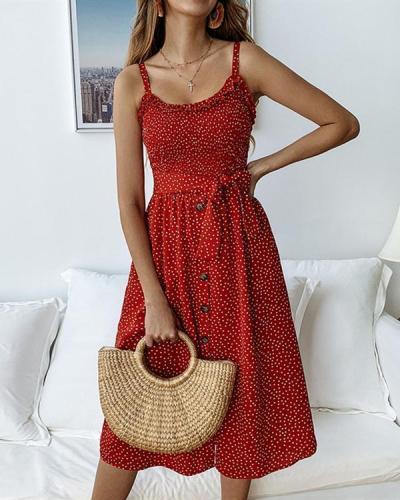 Women Casual Printed Polka Dot Ruffled Tie Button Dress