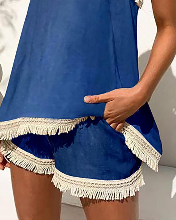 Spaghetti Strap Tassel Top & Shorts Set