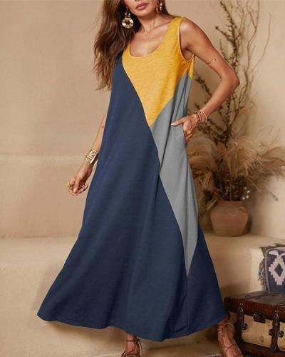 Casual Crew Neck Sleeveless Stitching Vest Dress