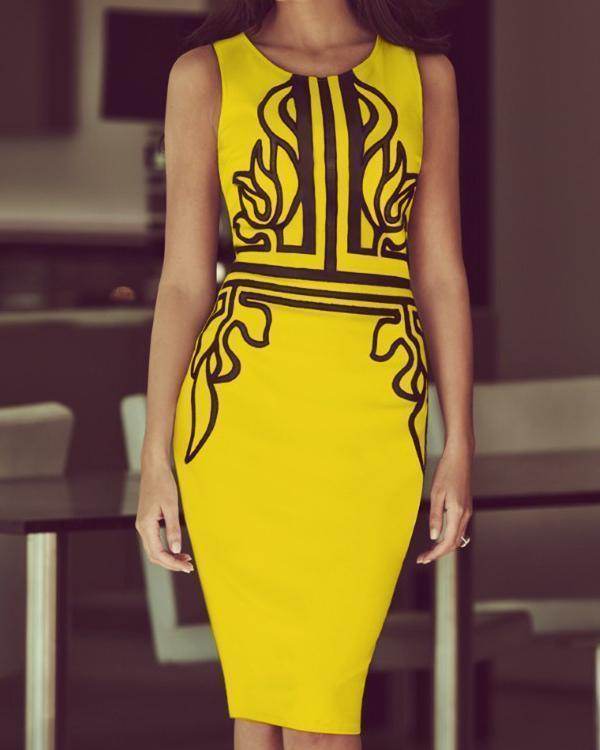 Women Vintage Crew Neck Print Sleeveless Slim Party Dress