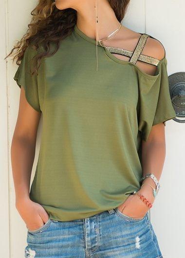 Women Cross-Shoulder Irregular Short-Sleeved Plus Size T-shirt Tops