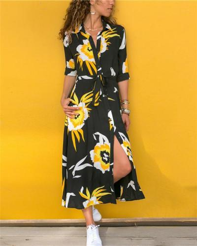 Random Printed V Neck Summer Beach Midi Dress