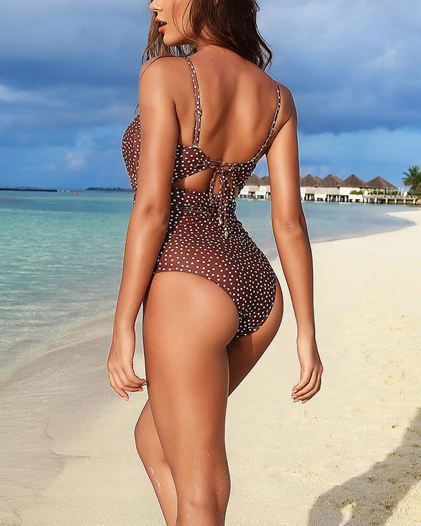 Sexy Cutout Sling Print One Piece Swimsuit