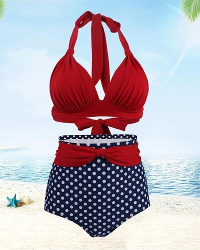 Polka Dot High Waist Swimsuit