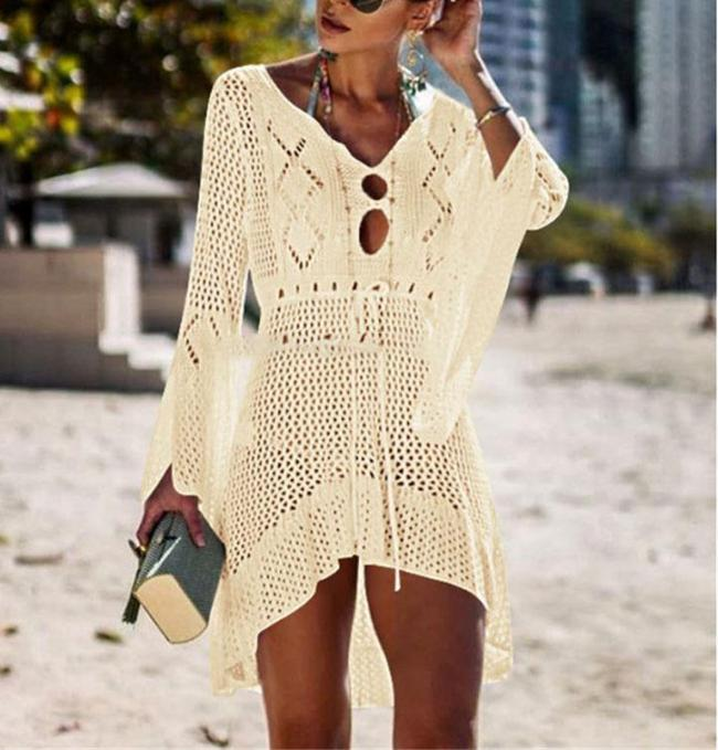Cutout Woven Beach Solid Swimwear Cover Ups