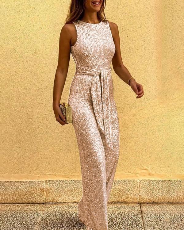 Glitter Round Neck Sleeveless Backless Sequins Jumpsuits