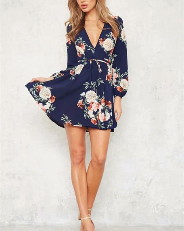 Girl Sexy V Neck Boho Floral Print Women Mini Dresses