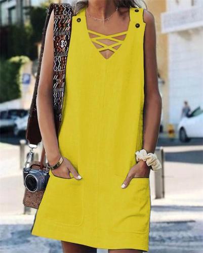 Solid Sleeveless Holiday Daily Fashion Mini Dresses