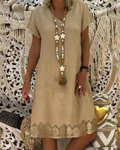 Women V-Neck Solid Short Sleeve Lace hem Summer Dress