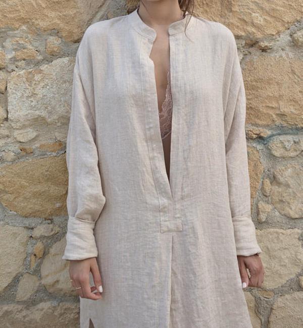 Women Vintage Loose Solid V Neck Slit Cotton Linen Dress