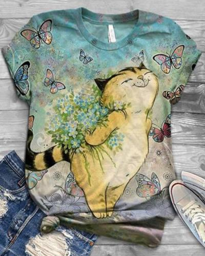 Round Neck Short Sleeve Cute Cat Shirts & Tops