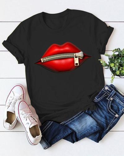 Graphic Print Short Sleelve Summer Casual T-shirt