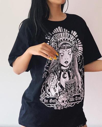 Vintage Skeleton Witch Printed Chic Long T-Shirt